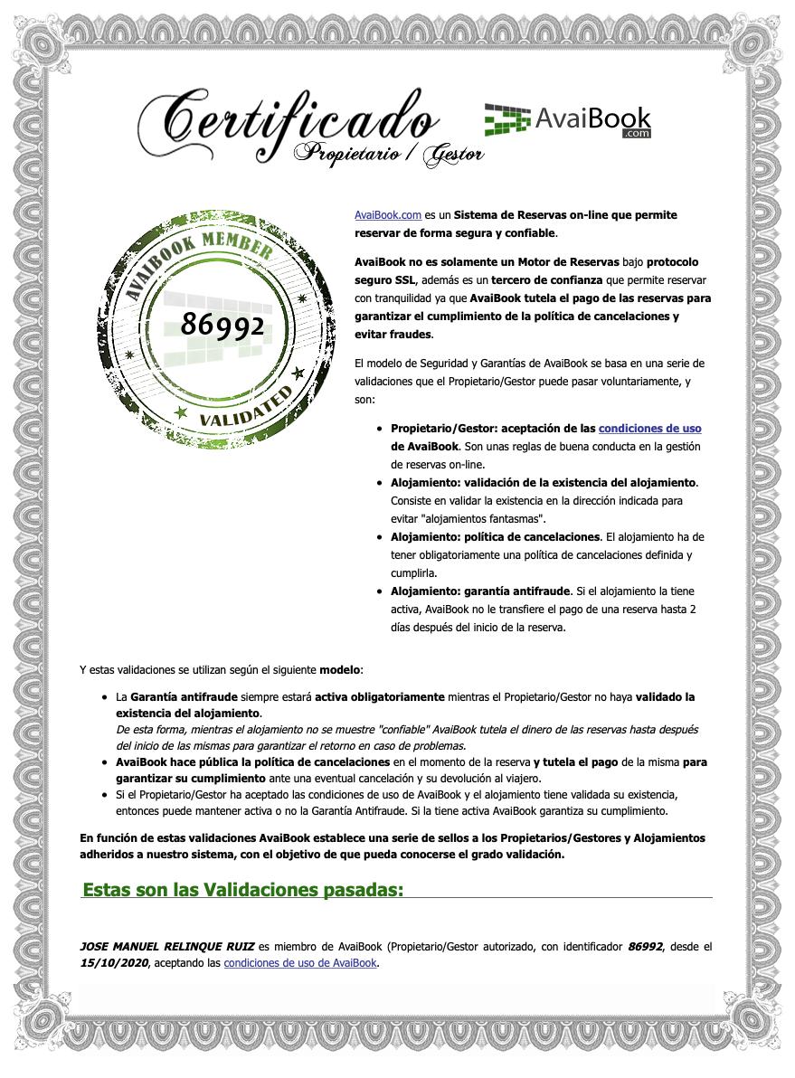 Certificado de Seguridad de Avaibook