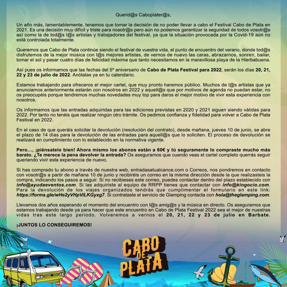 Festival Cabo de Plata 2021 Suspendido