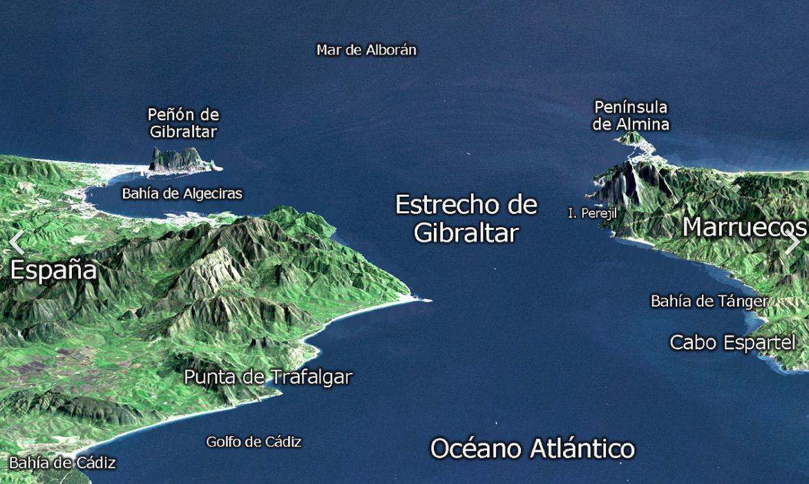 el estrecho de gibraltar mapa de localización